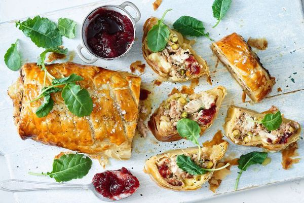 Turkey Brie and Cranberry Pastry Roll